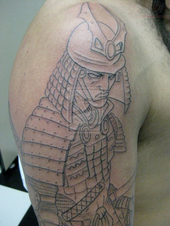 Outline Samurai Tattoo On Muscles