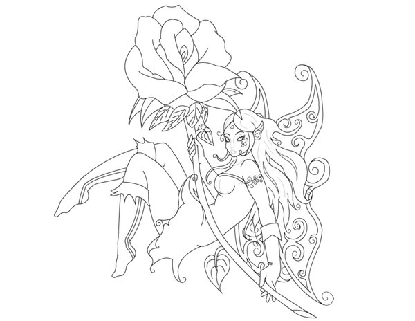 Outline Tinkerbell Tattoo Stencil