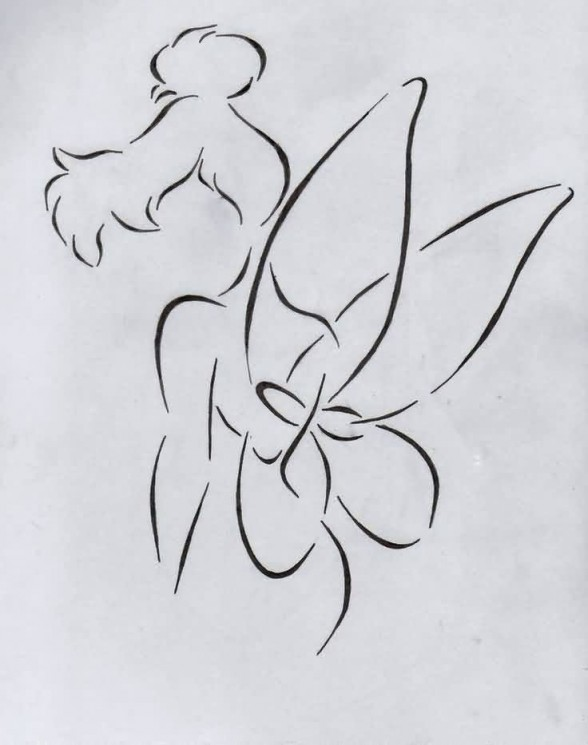 Outline Tinkerbell With Magic Stick Tattoo Design