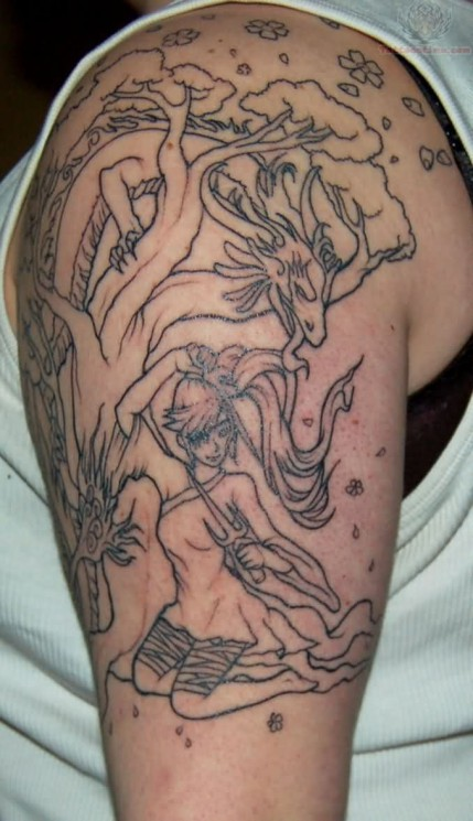 Outline Tree And Girl Tattoos On Muscles