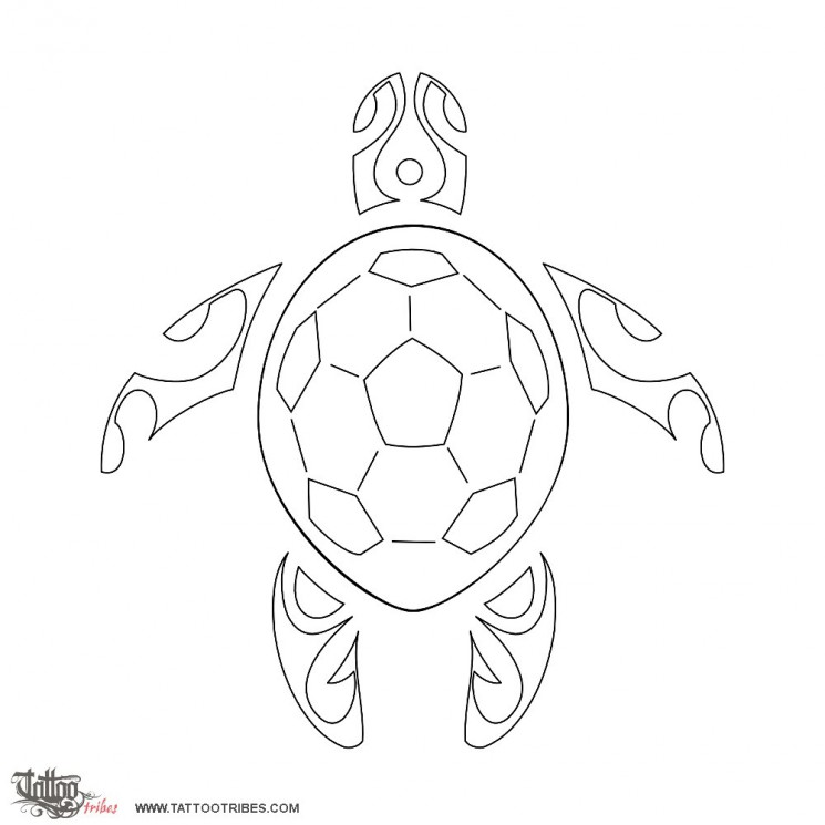 Outline Turtle Tattoo Stencil