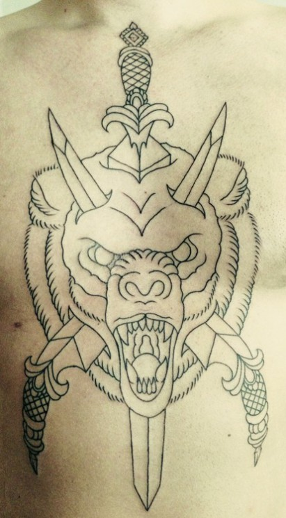 Outline Wolf And Wings Tattoo On Chest