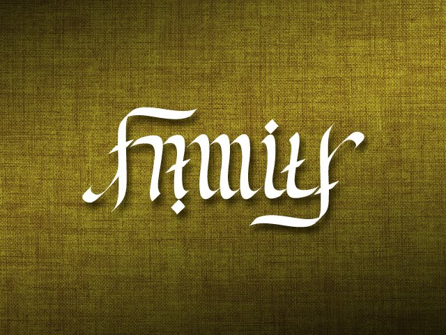 Outstanding Family Forever Ambigram Tattoo