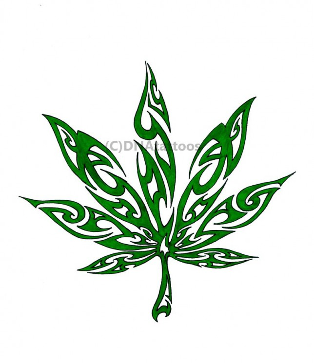 Outstanding Marijuana Leaf Tattoo Design