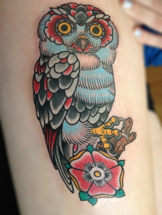 Owl And Flower Traditional Tattoos