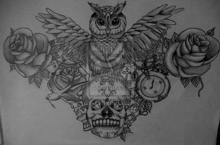 Owl And Heart Tattoos Sketch