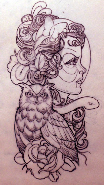 Owl And Rose Outline Tattoos On Left Thigh