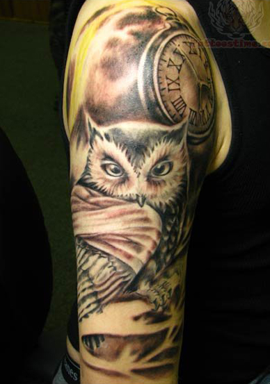 Owl Compass Tattoos On Half Sleeve