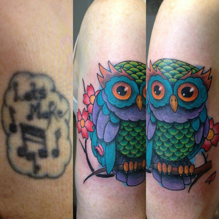 Owl Muscles Cover Up Tattoos