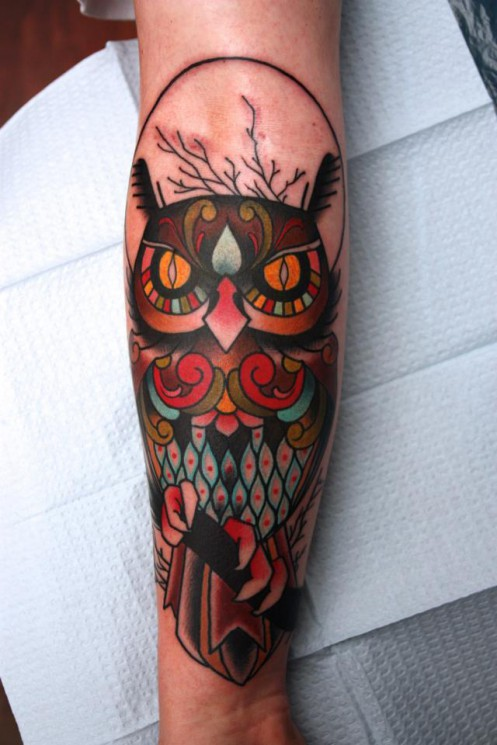 Owl Traditional Tattoo For Arm