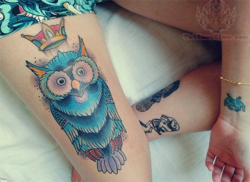 Owl With Blue Glasses Tattoo On Thigh