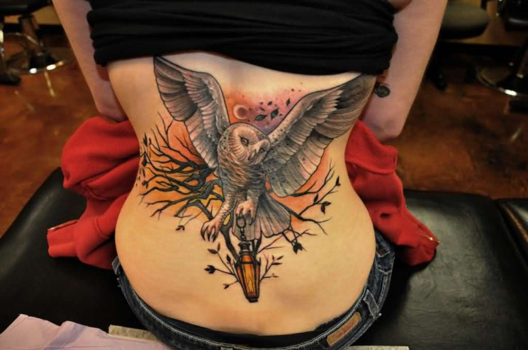 Owl With Candle Lamp Tattoo On Back