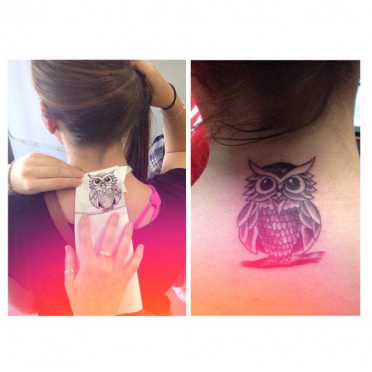Owl With Chinese Symbols Neck Tattoos