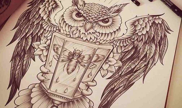 Owl With Lamp Tattoo Design On Back