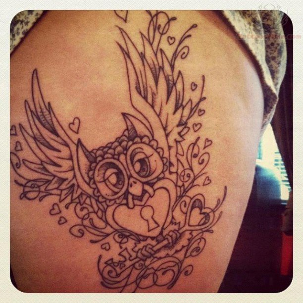 Owl With Locked Heart And Key Tattoo Design