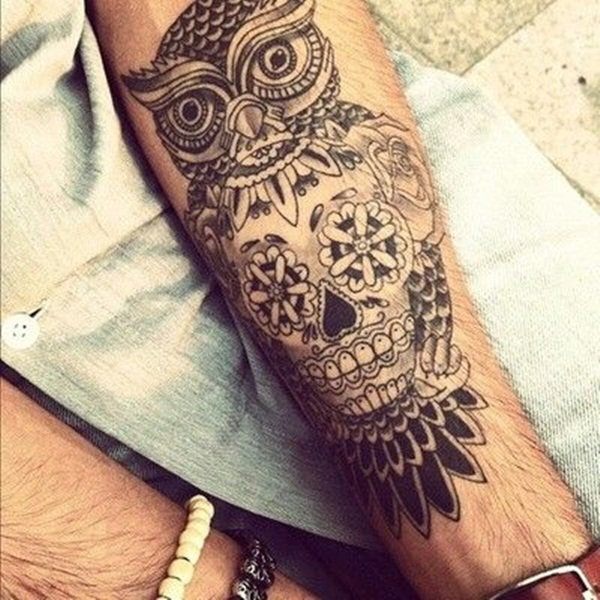 Owl With Mexican Skull Tattoo On Arm For Men