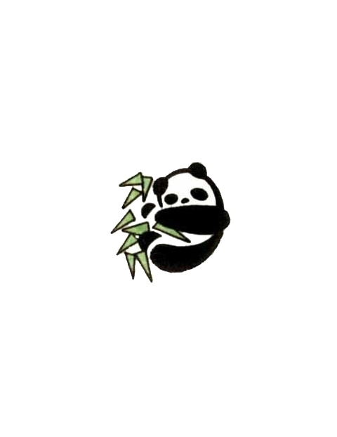Panda And Green Leaves Tattoo Design