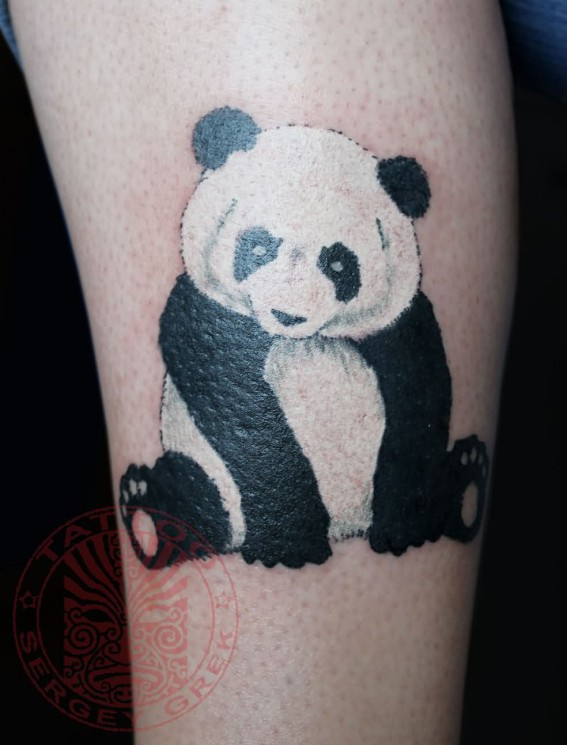 Panda Bear Eating Tattoo On Lowerback Specially For Girls