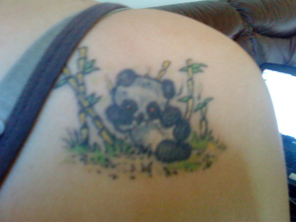 Panda Family In Forest Tattoo On Full Ribs