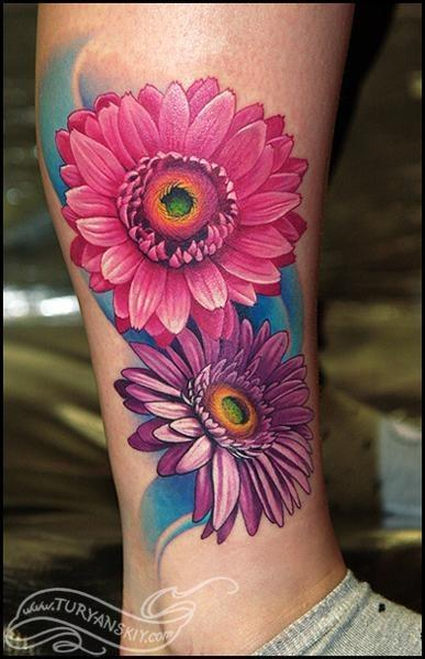 Panda Star Pink Flower And Peace Tattoo Designs