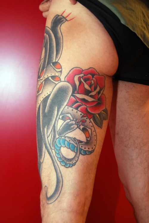 Panther And Rose – Thigh Tattoos