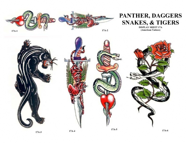 Panther Dagger Snakes n Tiger Tattoo Designs