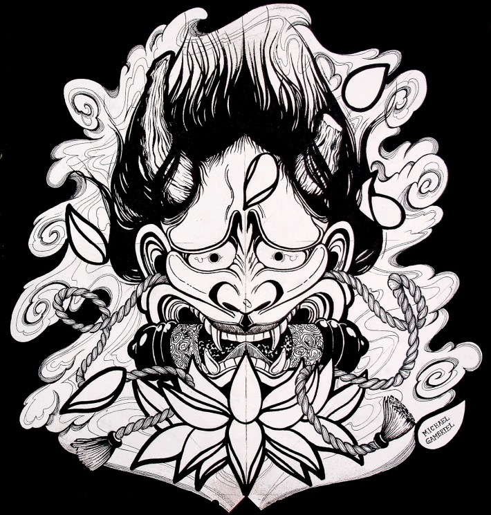 Paper Hannya Mask Tattoo Image