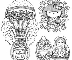 Paratrooper Hello Kitty Cup Cake And Matryoshka Tattoo Designs