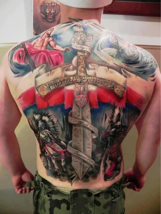 Patriotic And Angel Tattoos On Entire Back