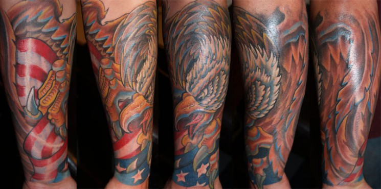 Patriotic Eagle And Military Tattoos On Arm
