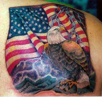 Large Patriotic Flag And Blind Girl Tattoos