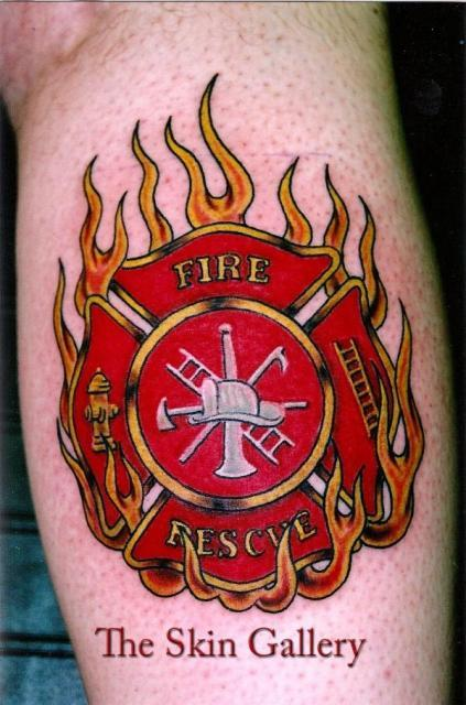 Patriotic Firefighter Tattoo Design