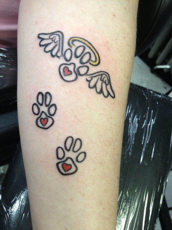 Paw Print With Angel Wings Tattoos