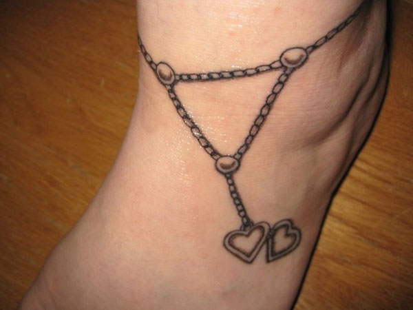 Paw Prints Heart Anklet Tattoo Trend
