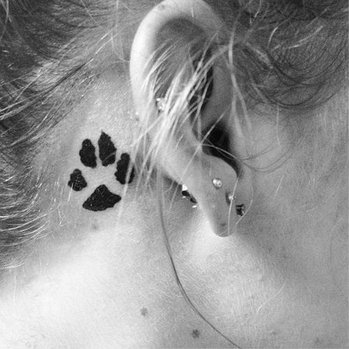 Paw Prints Tattoo Behind The Ear