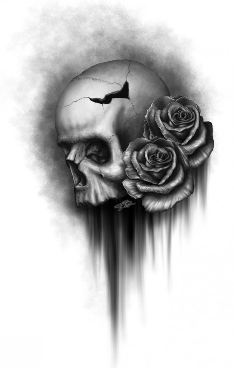 Pencil Airbrush Skull Tattoos