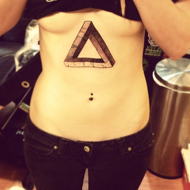 Penrose Triangle Tattoo On Stomach
