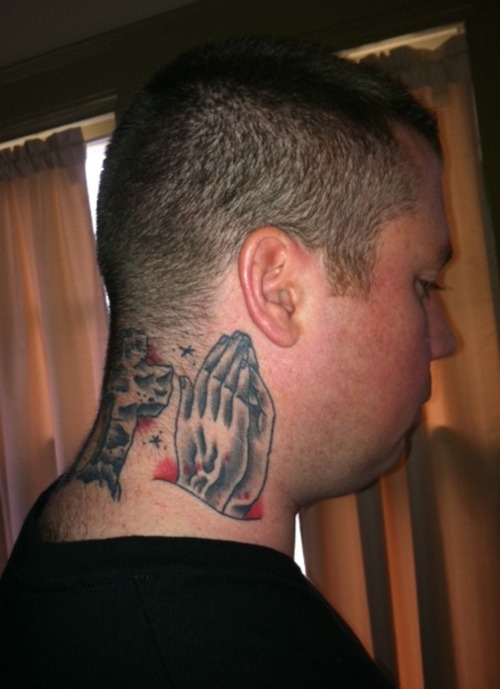 People Praying Hands Tattoo On Side Neck