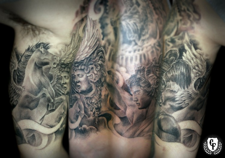 Perseus And Medusa Sleeve Tattoo Designs