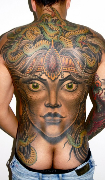 Perseus And Medusa Tattoo On Back For Men