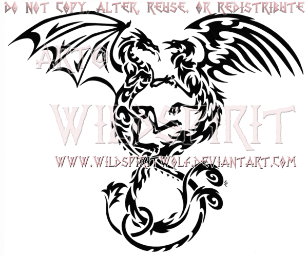 Phoenix And Dragon Tribal Tattoo Design