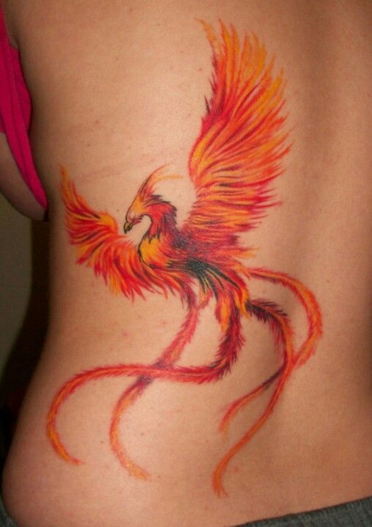 Phoenix And Red Flames Tattoos On Chest To Hip