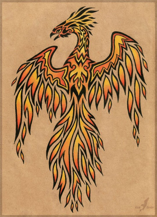 Phoenix And Red Flames Tattoos On Muscles