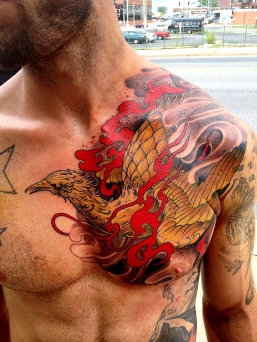 Phoenix Rebirth Tattoo On Chest
