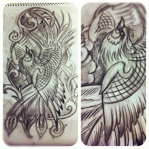 Phoenix Rough Tattoo Design