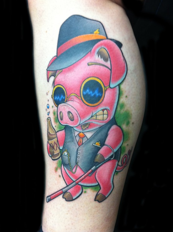Pig With Bottle Tattoo