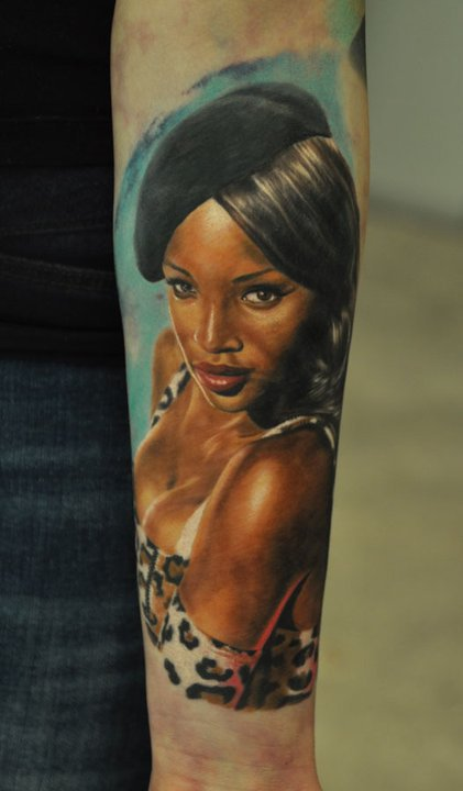 Pin Up Girl Smiling Portrait Tattoo