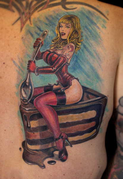 Pin Up Girl With Candle Cake Tattoo