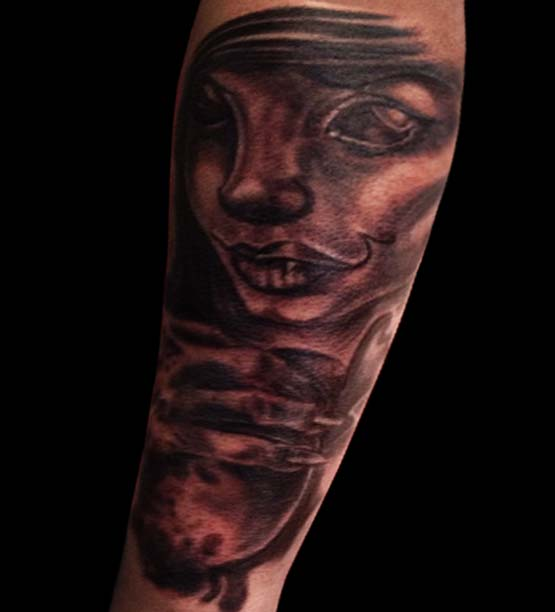 Pin Up Girl With Wine Glass Tattoos On Ribs