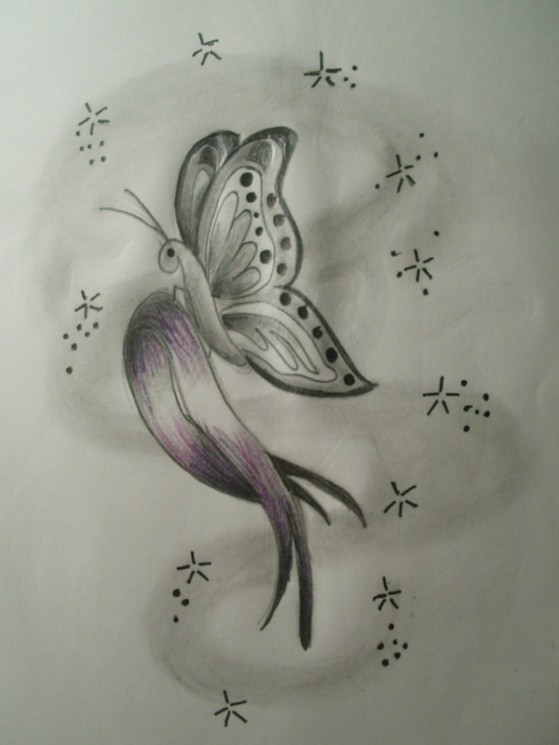 Pink Cancer Ribbon Butterfly Tattoo